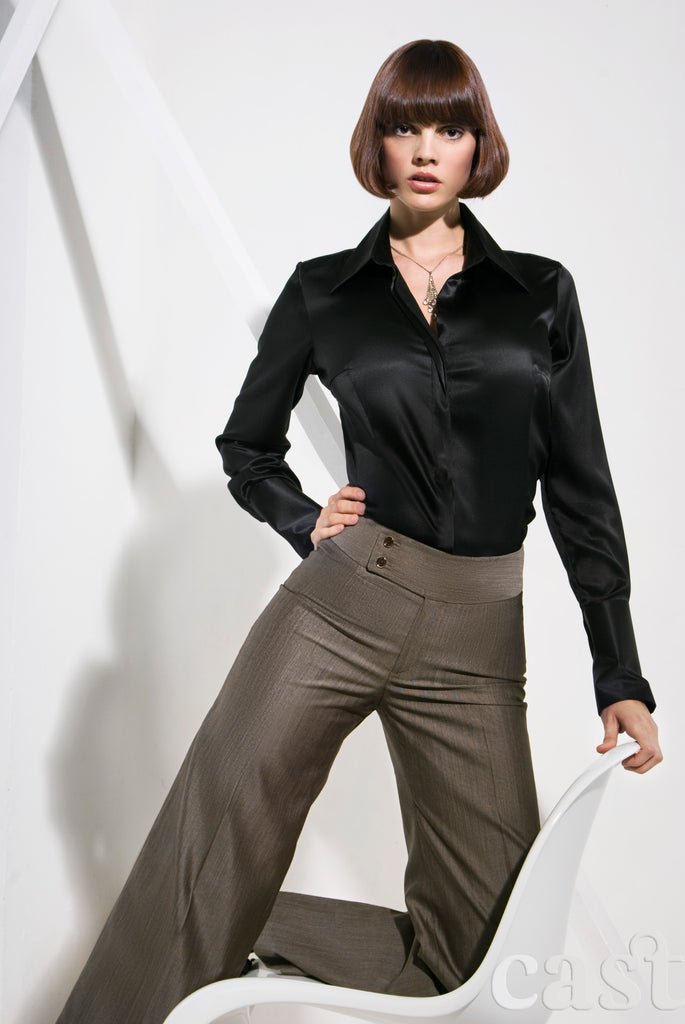 Black Stretch Silk Shirt