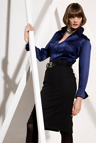 Navy Stretch Silk Shirt
