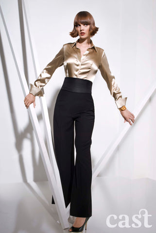 Champagne Stretch Silk Shirt