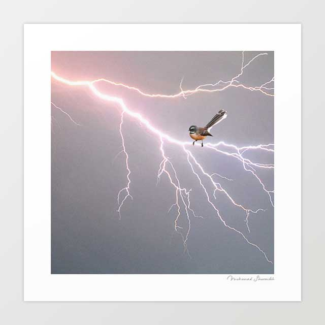 Bird on lightning bolt Art Print