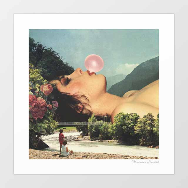 Bubble gum girl Art Print