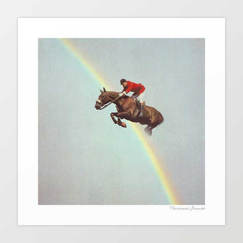 Horse over rainbow Art Print