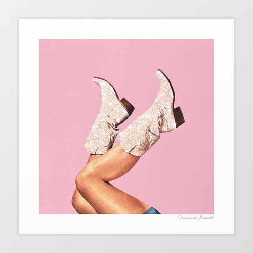These Boots - Glitter Pink Art Print