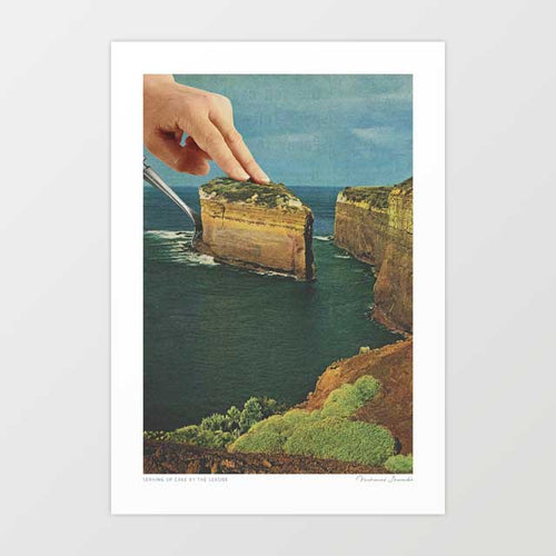 Serving up cake by the seaside Art Print