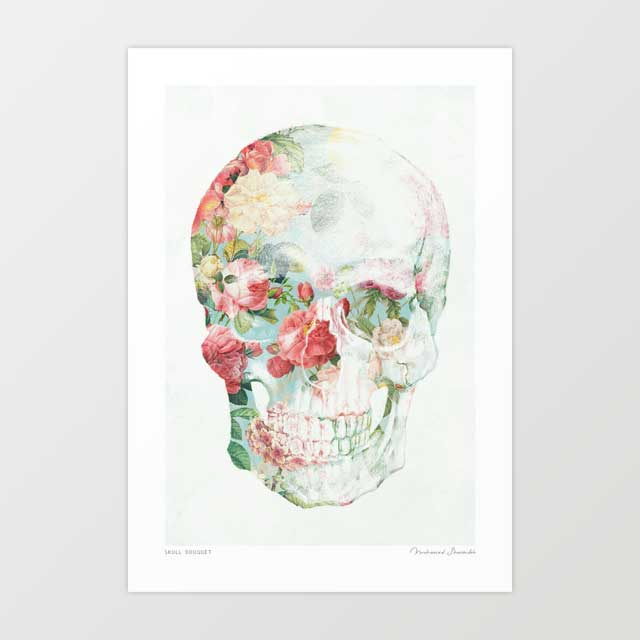 Skull bouquet Art Print