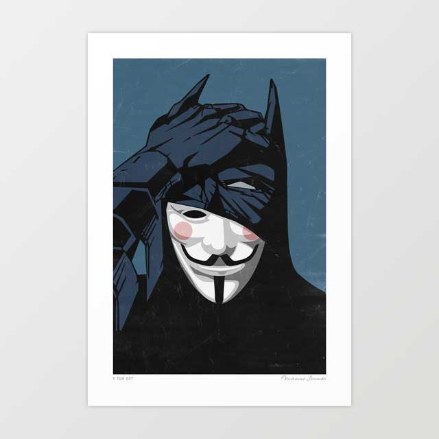V for Bat Art Print