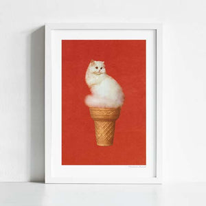 Cat Ice Cream Art Print
