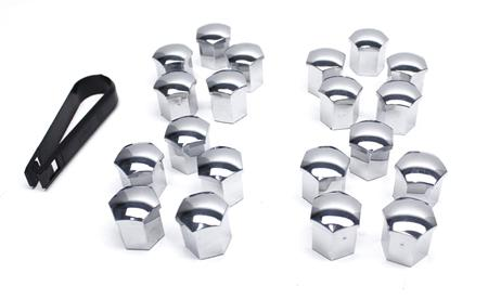 17mm Head Chrome Wheel Bolt Caps (Set of 20 with Tool)