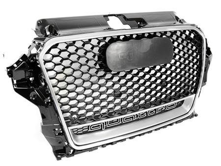 AUDI 8V A3 RS3-STYLE GRILLE W/ CHROME TRIM AND QUATTRO INSERT