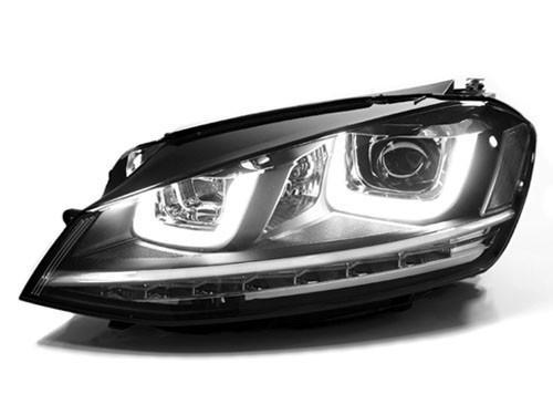 Helix R-Look Headlights With Double U LED - Chrome Strip | Mk7 Golf | GTi