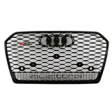 2016+ Audi A6/S6 C8 RS6 Quattro Style Mesh Grille - Gloss Black Badgeless