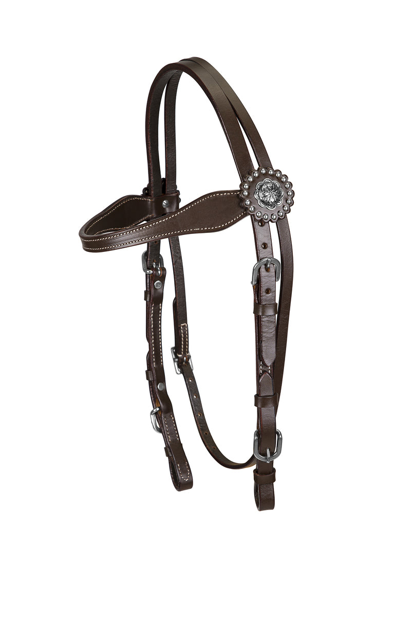 TuffRider Western Browband Headstall Concho With Buckle Bit Ends_5633