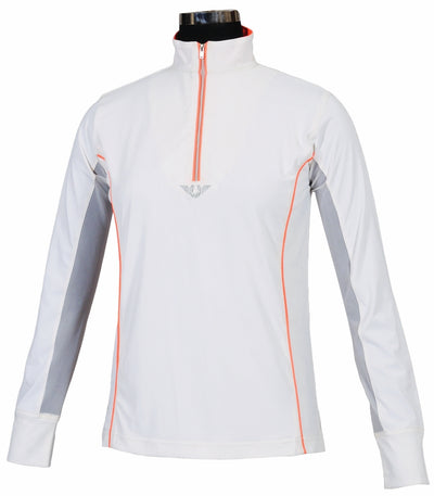 TuffRider Ladies Neon Mock Zip Long Sleeve Sport Shirt_3679