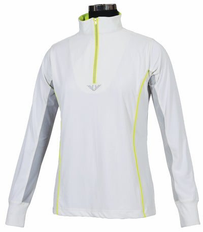 TuffRider Ladies Neon Mock Zip Long Sleeve Sport Shirt_3681