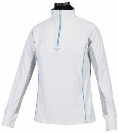 TuffRider Ladies Neon Mock Zip Long Sleeve Sport Shirt_3682