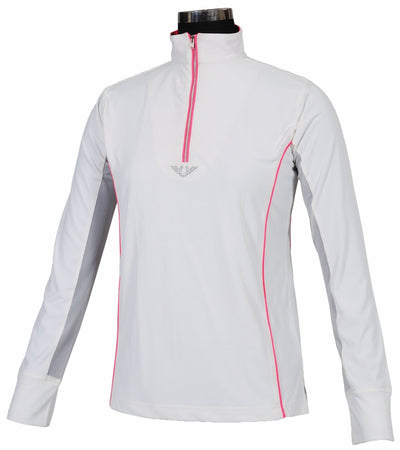 TuffRider Ladies Neon Mock Zip Long Sleeve Sport Shirt_3683
