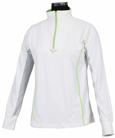 TuffRider Ladies Neon Mock Zip Long Sleeve Sport Shirt_3684