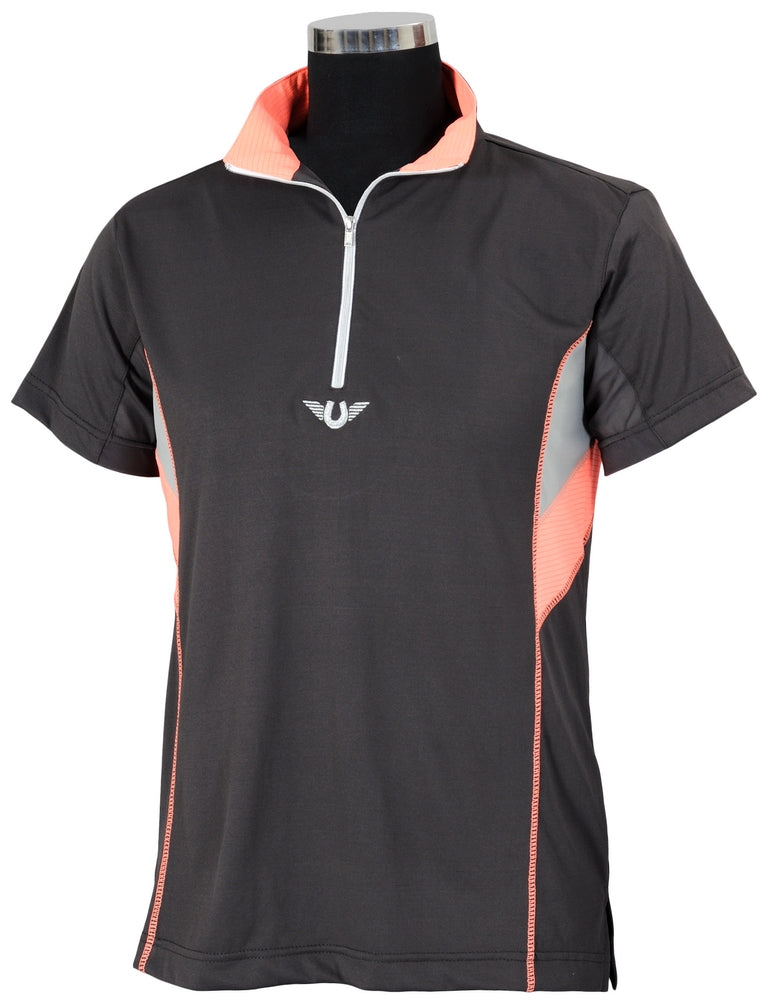 TuffRider Ladies Neon Ventilated Mock Zip Short Sleeve Sport Shirt_1