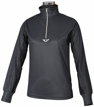 TuffRider Ladies Black Diamond Mock Zip Long Sleeve Polo_607