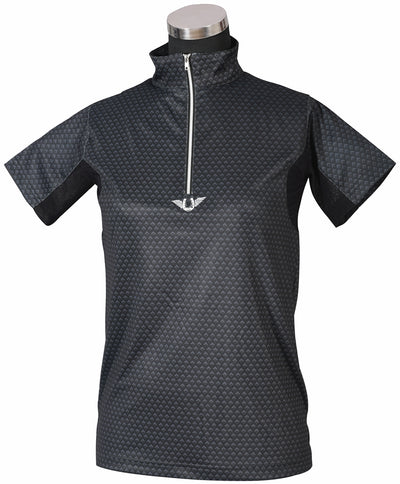 TuffRider Ladies Black Diamond Mock Zip Short Sleeve Polo_3742