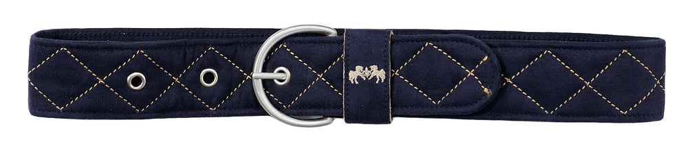 Equine Couture Diamond Quilted Suede Belt with Diagonal Line_3317