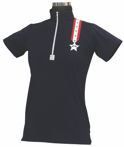 Equine Couture Ladies Stars & Stripes Short Sleeve Polo_5030