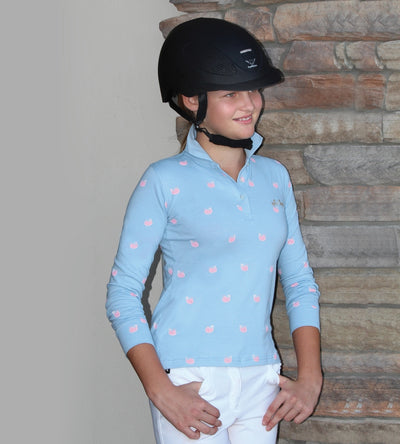 Equine Couture Children's Whales Long Sleeve Polo_3997