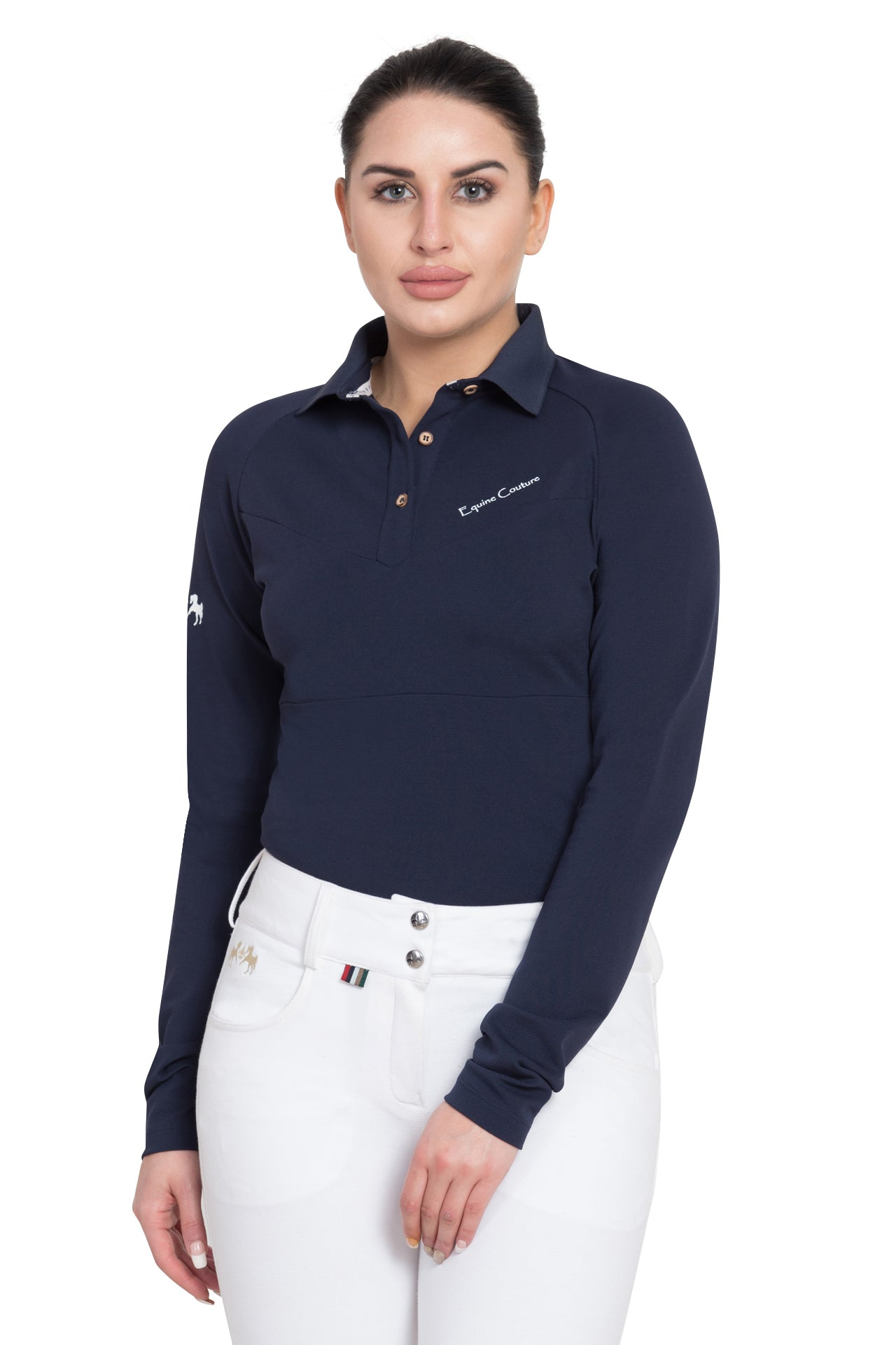 Equine Couture Ladies Performance Long Sleeve Polo Sport Shirt_4125