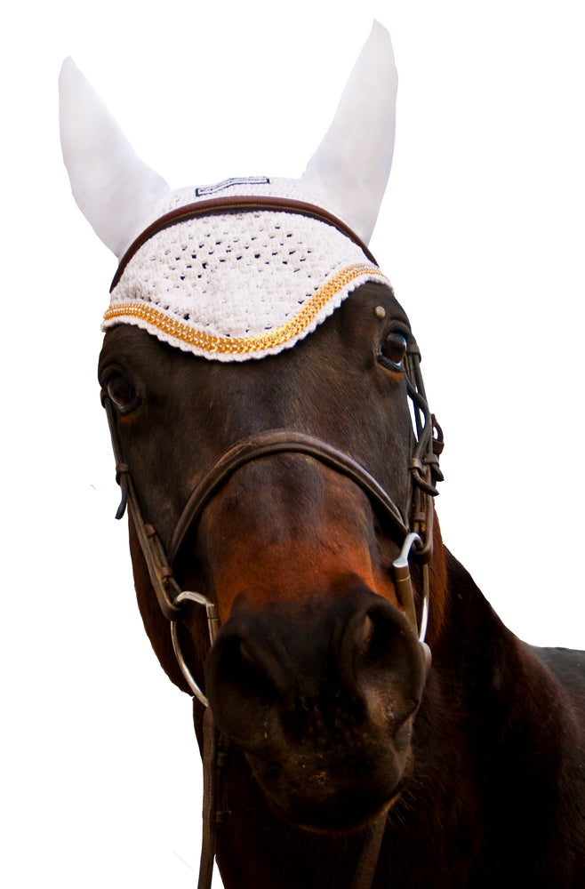 Equine Couture Fly Bonnet with Gold Chain_3010