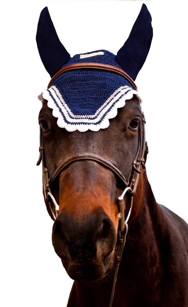 Equine Couture Fly Bonnet with Silver Lurex & Contrast Color_73