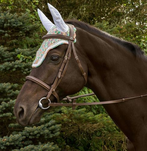 Equine Couture Rainbow Fly Bonnet with Crystals_5338