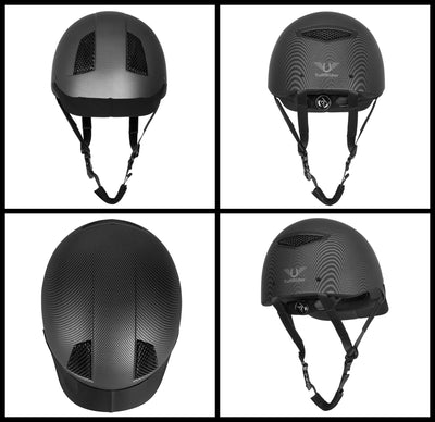 TuffRider Carbon Fiber Shell Helmet| Schooling Protective Head Gear for Equestrian Riders - SEI Certified, Tough and Durable - Black | Size - Large_3472