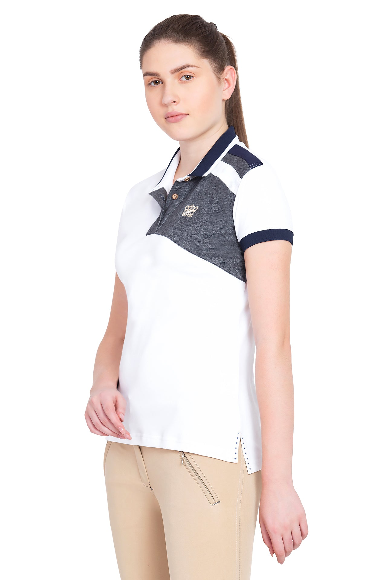George H Morris Ladies Hunter Short Sleeve Polo Sport Shirt_1644