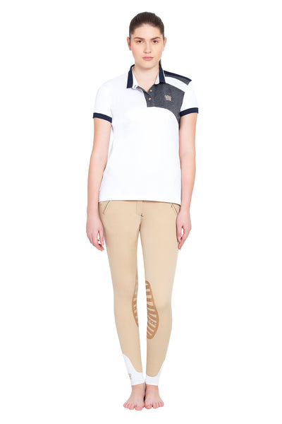 George H Morris Ladies Hunter Short Sleeve Polo Sport Shirt_4588