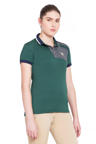 George H Morris Ladies Hunter Short Sleeve Polo Sport Shirt_4594