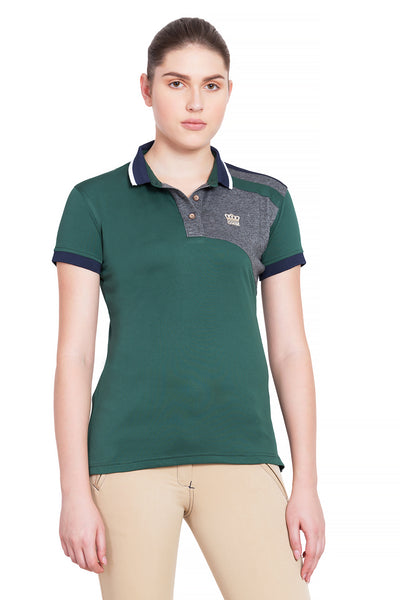George H Morris Ladies Hunter Short Sleeve Polo Sport Shirt_4591