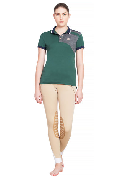 George H Morris Ladies Hunter Short Sleeve Polo Sport Shirt_4596
