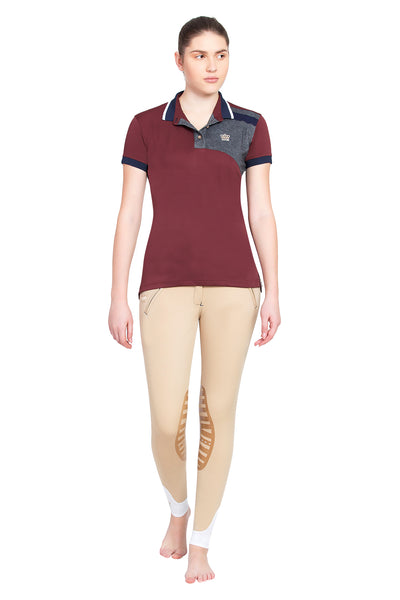 George H Morris Ladies Hunter Short Sleeve Polo Sport Shirt_4601