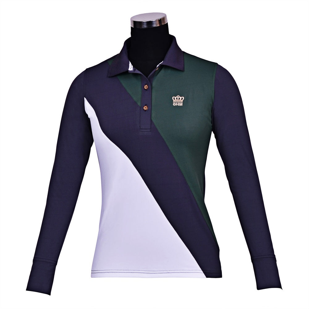 George H Morris Ladies Pro Sport Long Sleeve Polo Sport Shirt_1676