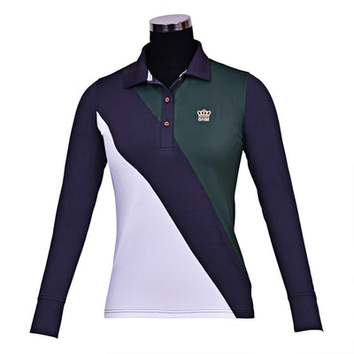 George H Morris Ladies Pro Sport Long Sleeve Polo Sport Shirt_4616