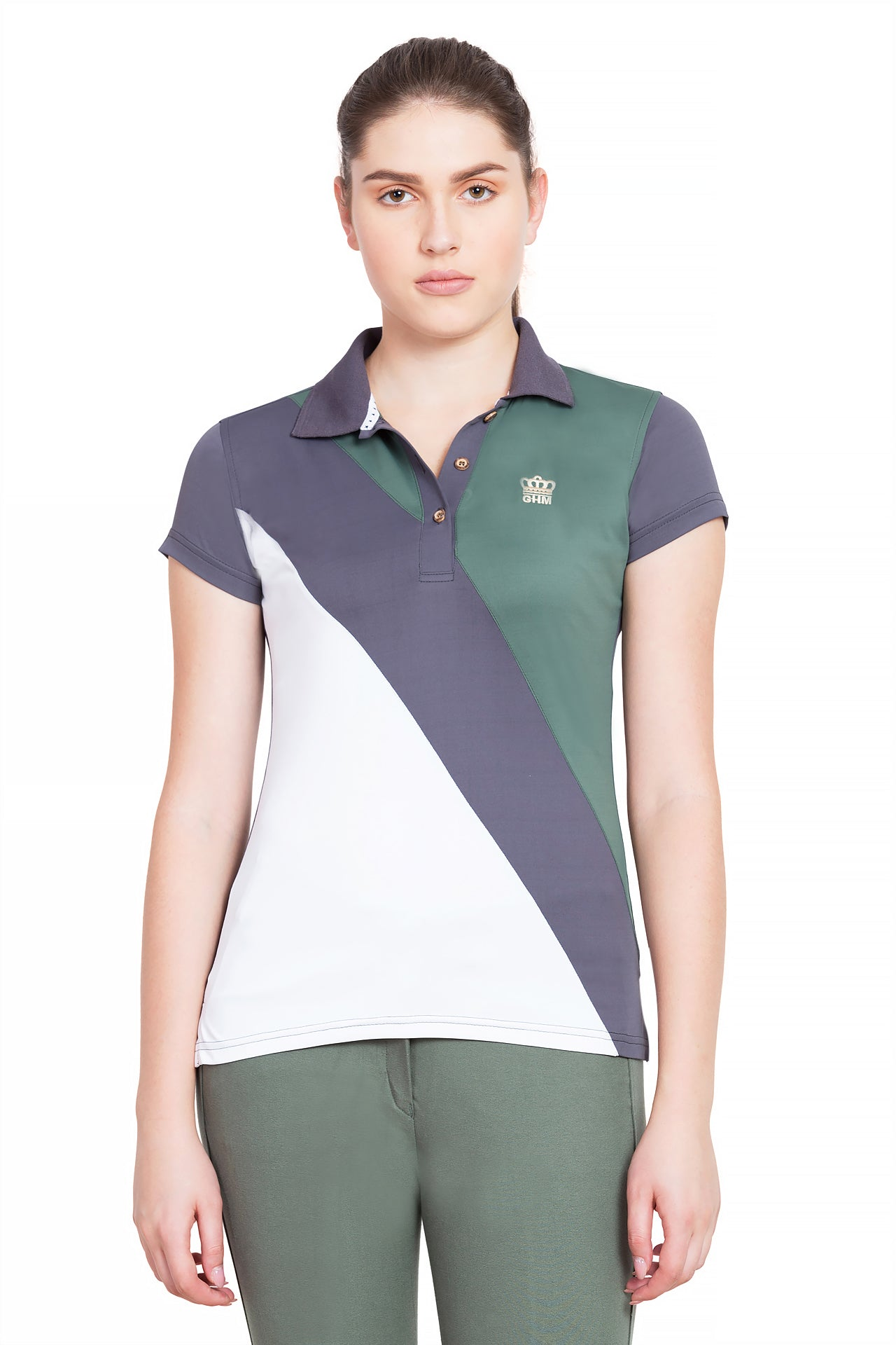 George H Morris Ladies Pro Sport Short Sleeve Polo Sport Shirt_1682
