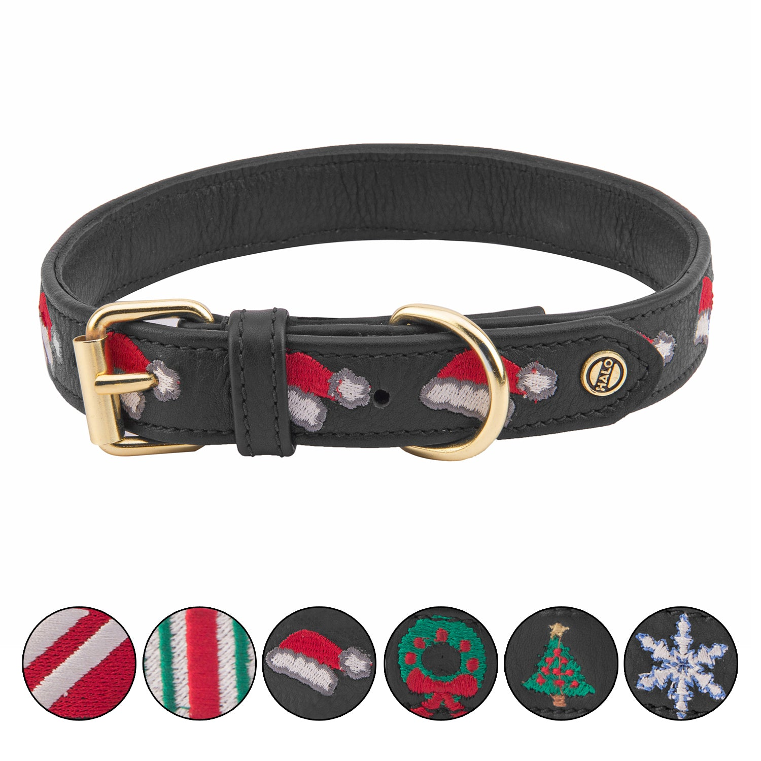 Halo Dog Collar - Leather with Christmas Santa Hat Embroidery_2021