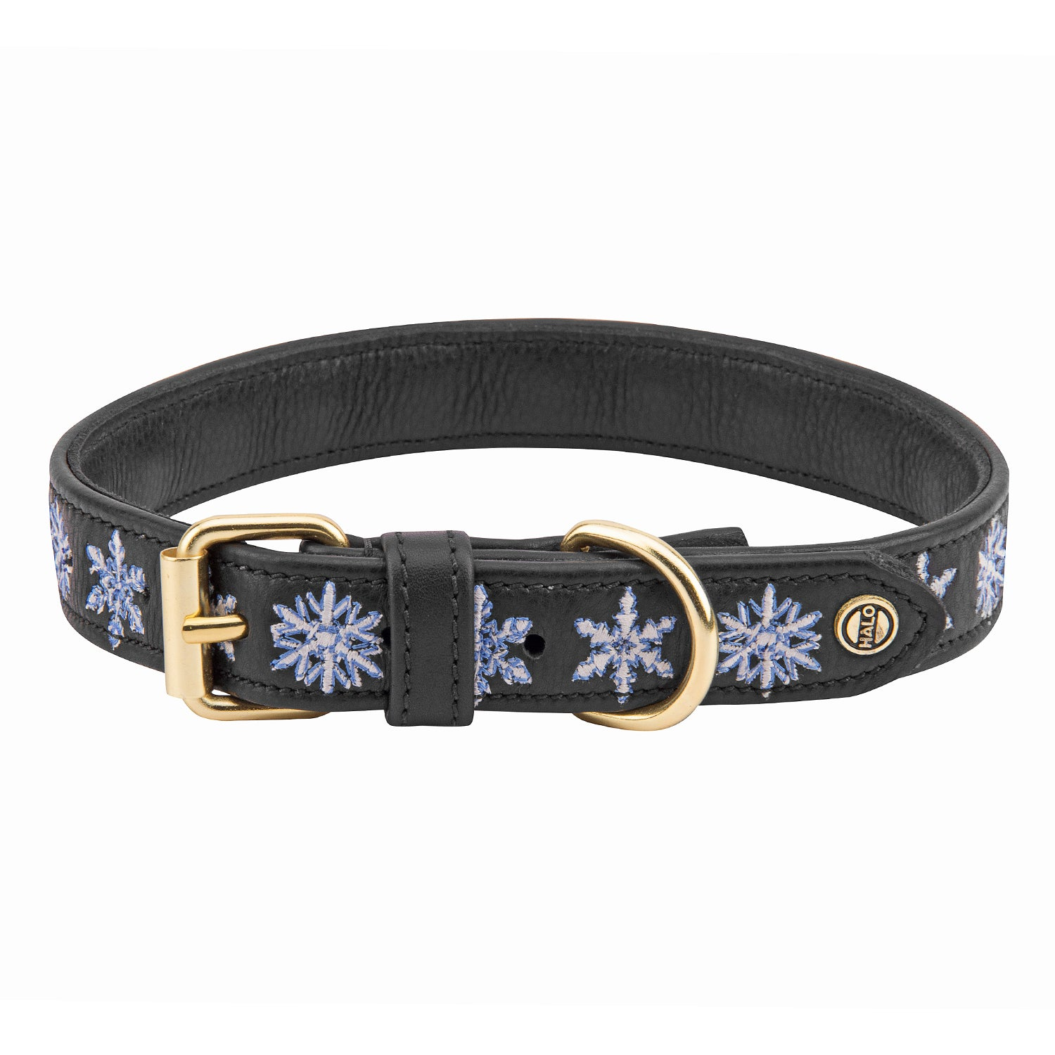 Halo Dog Collar - Leather with Snowflake Embroidery_2028