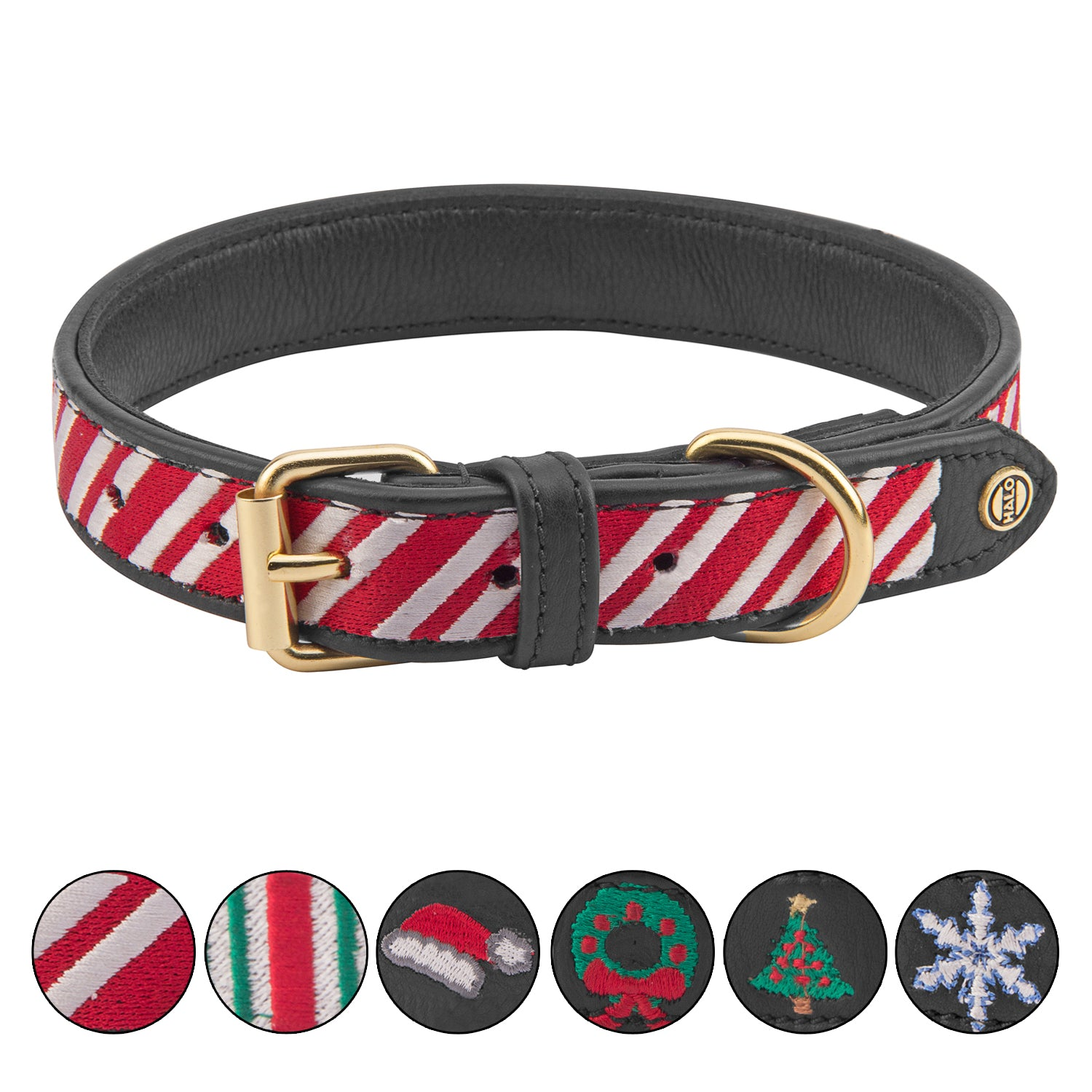 Halo Dog Collar - Leather with Candy Cane Embroidery_2046