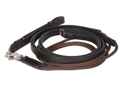 Henri de Rivel Advantage Draw Reins - Rounded Nylon / Leather Snap_5121