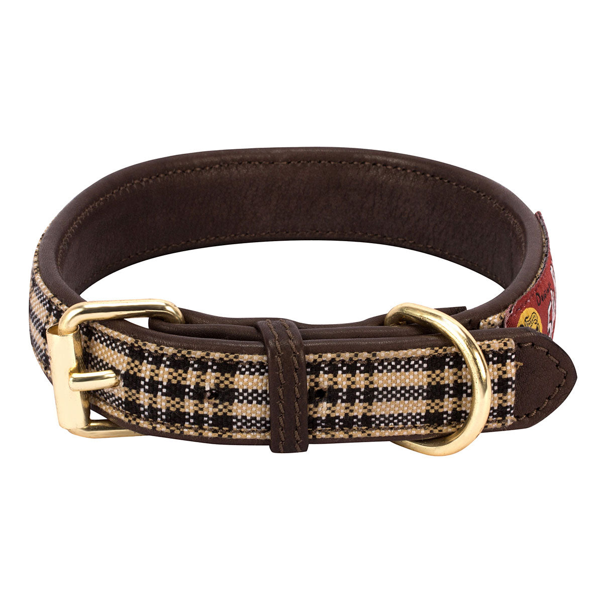 Baker Leather Dog Collar with Baker Plaid Overlay_1466