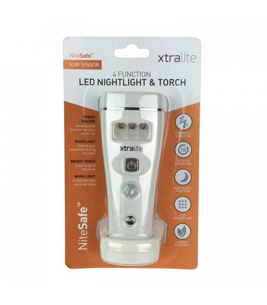 NiteSafe Slim Sensor Motion Activated Nightlight, Torch and Power Failure Light - White