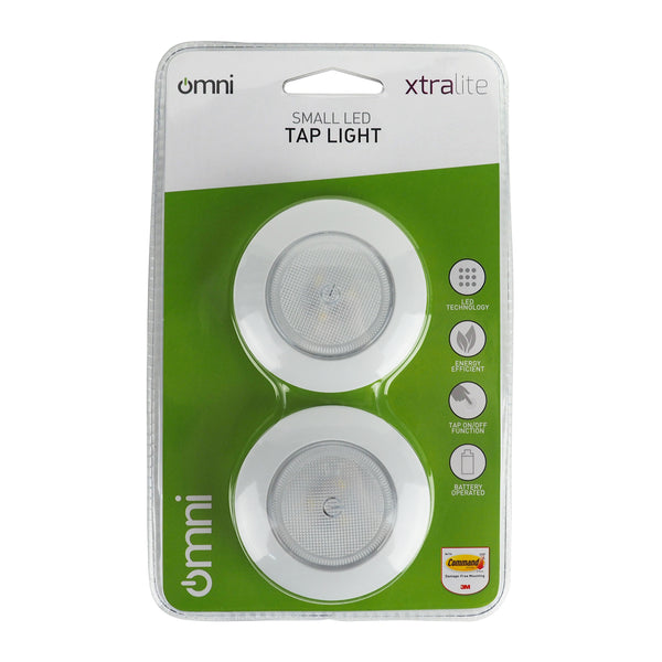 Omni Small LED Tap Light - Twin Pack - White