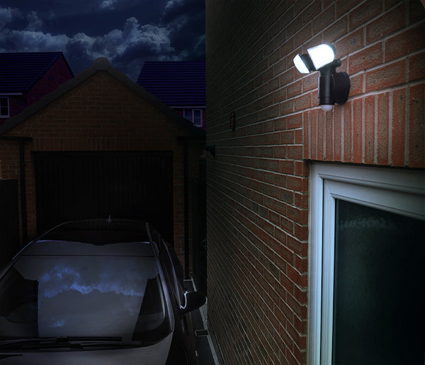 NiteSafe Twin Motion Activated LED Floodlight - Outdoor - Black