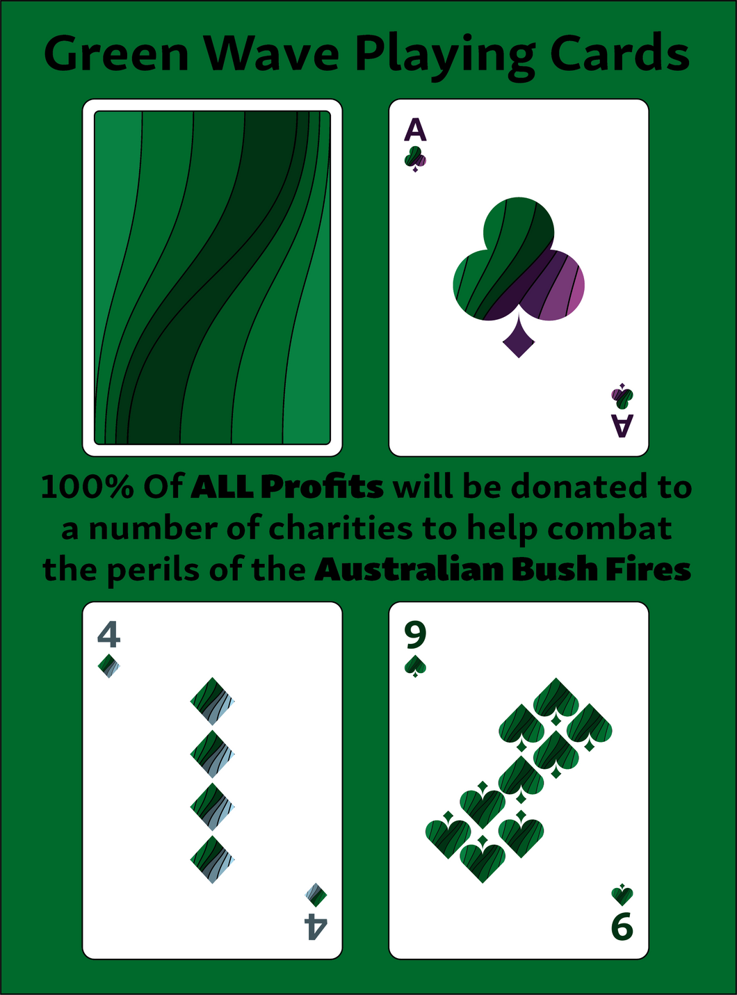 Green Wave Playing Cards - Pre-order